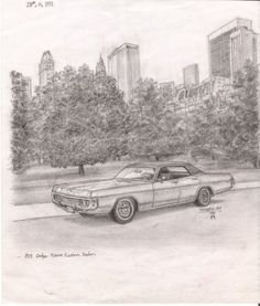 1971 Dodge Polara Custom Sedan - drawings and paintings by Stephen Wiltshire MBE
