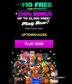 Uptown Aces is an RTG casino that is offering an exclusive $10 no deposit bonus for new players! This is an amazing offer from an amazing casino. It is the first no deposit bonus code that has offered our new players. If you don't have an account at Uptown Aces, you must claim this free chip today! First time depositors can claim a gigantic 250% up to $2500 deposit bonus as well! Uptown Aces in an RTG online casino that accepts players from the USA. Online Casino Games, Best Online Casino, Online Casino Bonus, Best Casino, Play Slots Online, Play Free Slots, Slot Online, Gambling Sites, Online Gambling