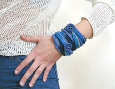 Knitted bracelet with button, women's cord bracelet, girl's jewelry, i cord  wrap, lariat, knit necklace, jeans blue accessory, gift for her