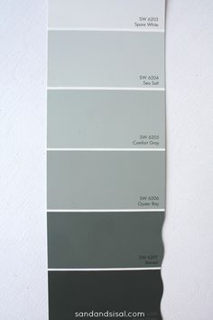 Sea Salt-Comfort Gray-Oyster Bay- Retreat colors from SW. Can we mix these colors throughout the spaces to create depth? Somewhere between Oyster Bay and Retreat is her chair color.
