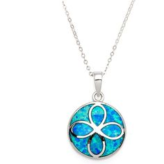 La Preciosa Sterling Silver Created Blue Opal Flower Design Circle... ($27) ❤ liked on Polyvore featuring jewelry, pendants, blue, blue jewelry, pendant jewelry, polish jewelry, opal jewelry and blue pendant