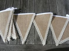 Hessian and Lace Bunting | eBay