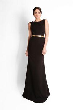 Georges Hobeika sleek black dress with metallic belt.  <3