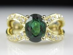 Green Tourmaline Diamond Ring 14K Yellow Gold Estate Fine Jewelry Size 6  #Unknown #Fashion