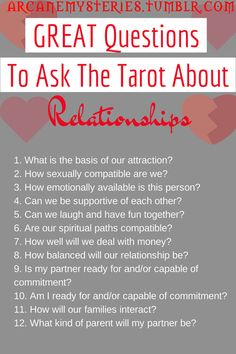 http://psychic.digimkts.com Great readings Worth a call : 855-976-3061 Great Questions To Ask The Tarot About Relationships.