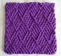Diamond Twist Stitch Dishcloth | This royal purple knitted dishcloth is absolutely stunning!