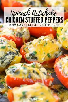 These Spinach Artichoke Chicken Stuffed Peppers are a delicious, hearty, low-carb and gluten free appetizer or meal! #TasteAndSee Spinach Artichoke Chicken, Gluten Free Appetizers, Chicken Stuffed Peppers, Chicken Florentine, Frozen Spinach, Pinterest Recipes, Good Food, Low Carb, Meals