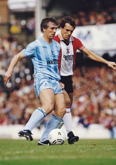 Southampton v Tottenham Hotspur Division One in 1984 Graham Roberts holds off Joe Jordan