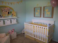 love how the white Graco Lauren crib & white Ikea shelves look with the light blue!