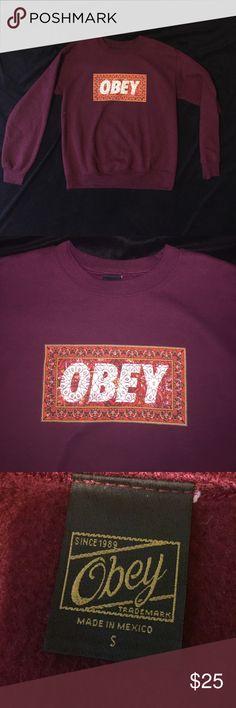 NWOT Obey Crewneck NWOT super cute Obey crewneck, men's small but fits like a women's s/m Obey Tops Sweatshirts & Hoodies