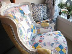 Quilt upholstered chair   Great way to salvage a beloved but worn quilt.