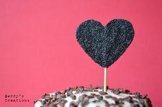 Anti Valentine's Day. Black. Glitter. Heart. Cupcake Topper. Made with NO LOVE