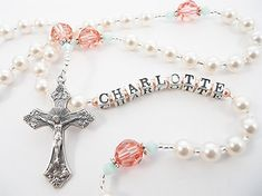 Personalized Swarovski Rosary Beads in Coral by RosaryGardenCathy