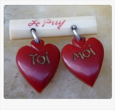 Carved Bakelite brooch & dangling hearts 'you and me'