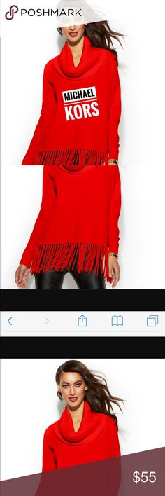 Michael Kors red sweater with fringe. New New with tags Michael Kors red sweater. This is a beautiful sweater. Why not combine with other sweaters for 20% off and pay shipping once😊. I have a great collection of sweaters. Michael Kors Sweaters