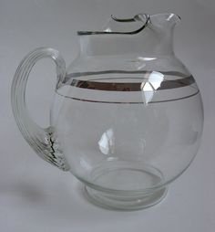 Vintage Blown Glass Cocktail Pitcher Mid-Century by chriscre