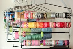 Store washi tape, ribbon, twine, etc. on pants holders, great idea from playpartypin.com