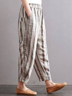 ZANZEA Vintage Striped Elastic Waist Pants with Pockets - Newchic Mobile Linen Pants Women, Pants For Women, Clothes For Women, Kurta Designs Women, Blouse Designs, Moda Junior, Salwar Pants, Elastic Waist Pants, Pants Pattern
