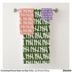 Counting Prison Days on Any Color Bath Towel Set Bath Towel Sets, Bath Towels, Cell Wall, Artwork Design, Prison, Counting, Colorful Backgrounds, Print Design, Create Yourself