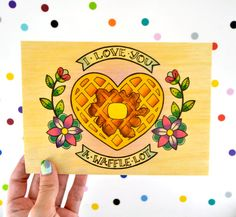 i love you a waffle lot / high quality art print on real wood / breakfast brunch kitchen retro kitsch home decor