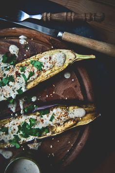 Grilled eggplant with spiced yoghurt Photography: Sophia van den Hoek