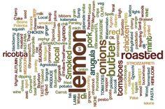 A word collage on current menu items at the restaurants… Word Collage, Arancini, Menu Items, Group Meals, Restaurants, Peach, Herbs, Garden, Fun