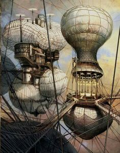 Steampunk Poster Balloons in the sky Gothic Steampunk, Steampunk Kunst, Steampunk Airship, Mode Steampunk, Steampunk Fashion, Steampunk Clothing, Gothic Fashion, Steampunk Makeup, Steampunk Drawing