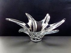 Vintage Art Vannes Glass Bowl MidCentury Modernist by AstrasShadow, $130.00
