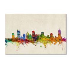 <li>Artist: Michael Tompsett</li><li>Title: 'Nashville Watercolor Skyline'</li><li>Product type: Giclee, gallery wrapped</li>