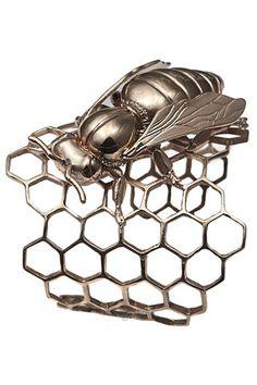 Bernard Delettrez Third eye jewelry bracelets-cuffs Gold Honeycomb cuff with bee