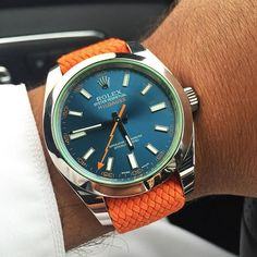 Orange @whatchsdotcom Perlon strap on a Rolex Milgauss