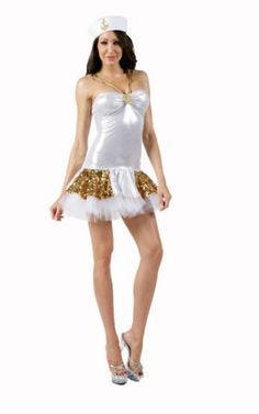 medium and large comes with hat, dress and gold sequin cape/shawl does not have petticoat underneath like photo on model Sailor Costumes, Halloween Party, Formal Dresses, Silver, Gold, Women, Fashion, Dresses For Formal, Moda