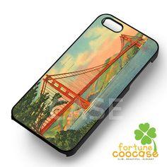 Vintage Postcard Golden Gate Bridge San Francisco -end for iPhone 6S case, iPhone 5s case, iPhone 6 case, iPhone 4S, Samsung S6 Edge