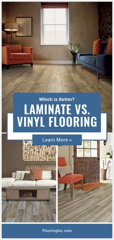Laminate vs Vinyl Flooring Laminate vs Vinyl Flooring FlooringInc FlooringInc Learn the difference between vinyl and laminate flooring the pros and cons of each and how to make the hellip Vinyl Vs Laminate Flooring, Armstrong Vinyl Flooring, Flooring On Walls, Vinyl Flooring Kitchen, Best Laminate, Diy Flooring, Stone Flooring, Flooring Ideas, Flooring Types