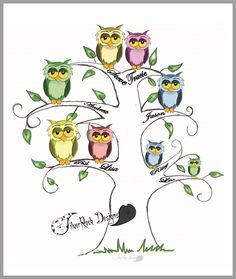 Owl Family Tree, Personalised Picture by SilverRockDesignsGB on Etsy Owl Family, Rock Design, Diana, Comics, Handmade Gifts, Silver, Pictures, Etsy, Art
