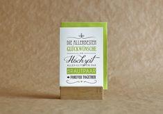 Luisa // Glückwunschkarte zur Hochzeit  Allerhand passende Worte für den schönsten Tag im Leben. In verschiedenen Schriftarten und im Vintagestil gehalten, lässt Luisa keine Wünsche mehr offen.   Die Karte ist hochwertig auf 300g Papier gedruckt. Ein passender Umschlag der Firma Artoz ist inklusive.   Die Klappkarte gibt es in drei Farbkombinationen:  Variante mit grüner Schrift (Farbvariante 282 - Limette)  Variante mit pinker Schrift (Farbvariante 486 - Fuchsia) Kraft Paper, Type Fonts, Color Combinations, Typography