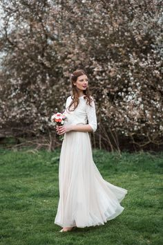 Love this relaxed bridal look, with lace top by Topshop and skirt by Needle and Thread at ASOS.
