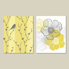 Abstract+Floral+and+Bird+Duo.++Home.+Decor.++by+RhondavousDesigns2,+$15.00