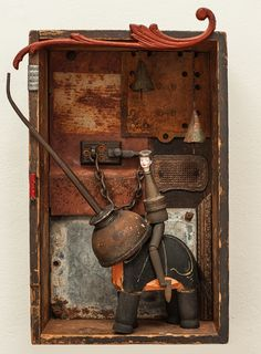 """""""She Rode In On an Elephant"""" 2015 mixed media assemblage by Dianne Hoffman"""