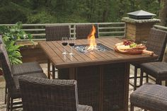 Paradise Trail Bar Table with Fire Pit, Medium Brown Fire Pit Table Set, Outdoor Fire Pit Table, Bar Table Sets, Outdoor Tables, Fire Pit Patio Set, Outdoor Life, Fire Pit With Table Top, Fire Pit Grill Table, Outdoor Dining Set