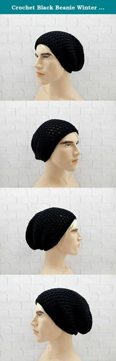 """Crochet Black Beanie Winter Hat Beanie for Men Large Beanie Hat Skater Beanie Hipster Hat Vegan. Handmade slouchy beanie perfect for on the go or around the house! Slouchy beanies add style and comfort to any outfit. This beanie is handmade with super soft acrylic yarn, which means it's vegan friendly! Machine wash and dry. Beanie will fit up to a 24"""" head circumference comfortably and measures 11"""" in length. One size fits most."""