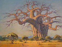Hannes van der Walt - Baobab – The Giant of the Bushveld Landscape Drawings, Watercolor Landscape, Landscape Art, Landscape Paintings, Art Drawings, Drawing Art, Baobab Tree, South African Artists, Tree Art