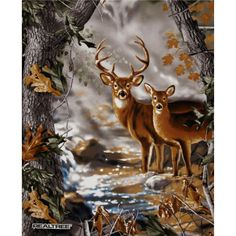 Realtree Buck & Doe Panel Multi from @fabricdotcom  Designed by Dona Gelsinger for Realtree this cotton print panel features a realistically rendered buck and doe and is perfect for quilts, home decor accent and craft projects. Panel measures 36'' x 44''. Colors include shades of brown, tan, grey, white, black and blue.
