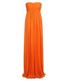 Alexander McQueen - Pre-Spring/Summer 2013 - Orange Fluid Jersey Draped Bustier Jumpsuit