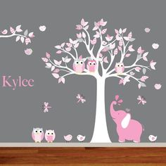Nursery tree decal with elephant ,owls, birds,dragonflies, custom name.    Product Details    tree with leaves 80inches high x 60 inches wide: