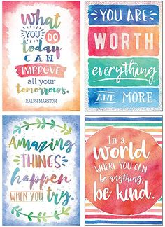 Inspire and motivate students with soft, watercolor-themed posters featuring positive sayings! Classroom Quotes, Classroom Themes, School Bathroom, Inspirational Quotes For Kids, Inspirational Classroom Posters, School Posters, Motivational Posters For School, School Quotes, School Sayings