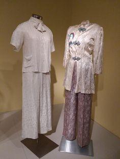 Silk jacquard pajamas, Chinese and Hawaiian, c. 1940s