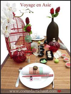 D coration de table origami fleurs de soie pochette for Decoration table nouvel an