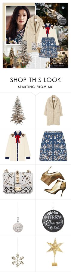 """Joy Love Peace and Happiness"" by rainie-minnie ❤ liked on Polyvore featuring MANGO, Gucci, Needle & Thread, Valentino, Alexander McQueen, Shishi, Home Decorators Collection and Biltmore"