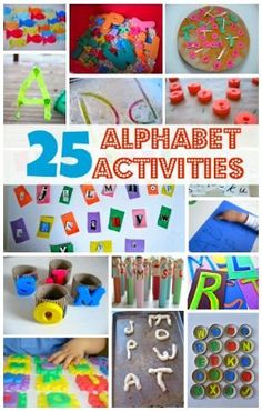 These 25 activities teach all different aspects of the alphabet including letter recognition, letter sounds, letter shapes and just plain fun! These activities are dynamic and are meant not just to teach the alphabet but to make learning letters a memorable and engaging experience.